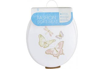 (Shimmer Butterfly) - Ginsey Standard Embroidered Soft Toilet Seat with Plastic Hinges, Shimmer Butterfly