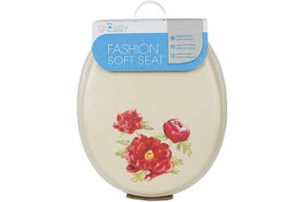 (Peony Bone) - Ginsey Standard Soft Toilet Seat with Plastic Hinges, Peony Bone