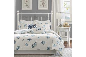 (King(270cm  x 230cm ), Seashell Blue) - Harbour House Beach House Duvet Cover King Size - Blue, Ivory , Seashells Duvet Cover Set – 3 Piece – 100% Cotton Light Weight Bed Comforter Covers
