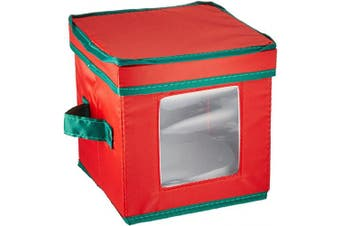 (Saucer Plate, Red & Green) - Household Essentials 530RED Holiday China Storage Chest with Lid and Handles   Storage Bin for Small Saucer Plates   Red Canvas with Green Trim