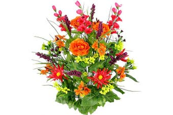 (Bt/Or/Yw/Kw) - Admired By Nature Artificial Dahlia, Morning Glory & Ranunculus & Blossom Fillers Mixed Bush for Home, Wedding, Restaurant & Office Decoration Arrangement, Velvet/Orange/Yellow/Kiwi, 30 Stems