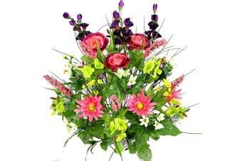 (Garden Mix) - Admired By Nature, Artificial Flower Bush, Dahlia, Morning Glory, Faux Ranunculus, Garden Mix