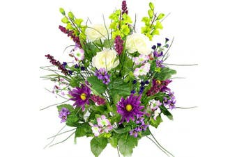 (Vio/Cm/Kw) - Artificial Dahlia, Morning Glory and Ranunculus and Blossom Fillers Mixed Bush - 30 Stems for Home, Wedding, Restaurant and Office Decoration Arrangement, Violet/Cream/Kiwi