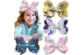 4PCS Bling 20cm Hair Bows Large Big Sparkly Glitter Reversible Sequin Hair Bows Alligator Hair Clips Hair Accessories for Girls Toddlers Kids Children Teens Young Women