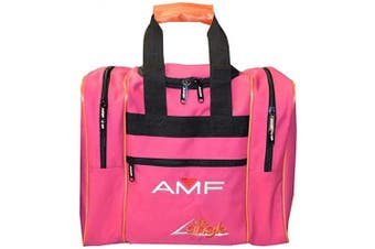 (Pink/Orange) - AMF The Angle Single Bowling Ball Tote Bag Holds Bowling Shoes
