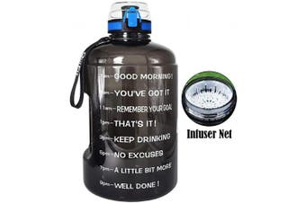 ( 3.8l, Black) - BuildLife Gallon Motivational Water Bottle Wide Mouth with Time Marker/Flip Top Leak Proof Lid/One Click Open/BPA Free/Multiple Sizes & Colours for Fitness Goals