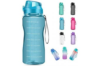 (1890ml, light blue) - 4AMinLA Motivational Water Bottle 642960ml Half Gallon Jug with Straw and Time Marker Large Capacity Leakproof BPA Free Fitness Sports Water Bottle