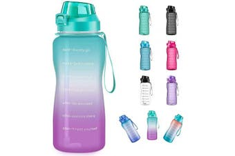 (2960ml, ombre green+purple) - 4AMinLA Motivational Water Bottle 642960ml Half Gallon Jug with Straw and Time Marker Large Capacity Leakproof BPA Free Fitness Sports Water Bottle