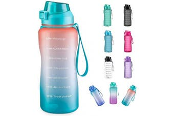 (1890ml, orange+green) - 4AMinLA Motivational Water Bottle 642960ml Half Gallon Jug with Straw and Time Marker Large Capacity Leakproof BPA Free Fitness Sports Water Bottle