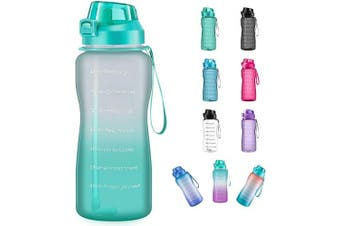 (1890ml, ombre green) - 4AMinLA Motivational Water Bottle 642960ml Half Gallon Jug with Straw and Time Marker Large Capacity Leakproof BPA Free Fitness Sports Water Bottle