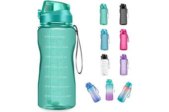 (2960ml, green) - 4AMinLA Motivational Water Bottle 642960ml Half Gallon Jug with Straw and Time Marker Large Capacity Leakproof BPA Free Fitness Sports Water Bottle