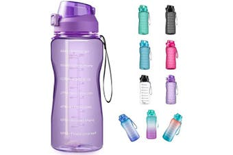 (1890ml, purple) - 4AMinLA Motivational Water Bottle 642960ml Half Gallon Jug with Straw and Time Marker Large Capacity Leakproof BPA Free Fitness Sports Water Bottle