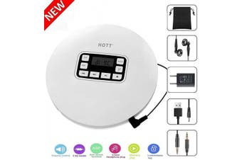 (CCHKFEI-CD611-White-1) - Portable CD Player, Personal Compact CD Player with LCD Display/Headphone/USB Cable/Power Adapter, with Electronic Skip Protection and Anti-Shock Function for Adults Children Students, White