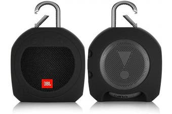 (Black) - TXEsign Protective Silicone Stand Up Carrying Case for JBL Clip 3 Waterproof Portable Bluetooth Speaker (Black)