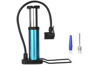 Emoly Mini Bike Pump, Portable Foot Activated Bicycle Pump, Universal Presta and Schrader Valve with High Pressure up to 120PSI, Bike Tyre Pump for Basketballs, Footballs and Mountain Bike (Blue)