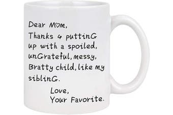 (White) - Mom Coffee Mug Dear Mom Thanks for Putting Up with a Bratty Coffee Mug Mothers Day Gifts for Mom from Daughter Son Coffee Mug for Mom Gifts for Mother's Day Birthday 330ml