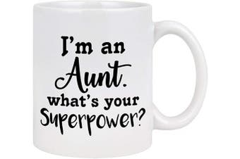 (White - Aunt) - Aunt Coffee Mug I Am An Aunt What's Your Superpower Coffee Mug Aunt Gifts from Niece Mothers Day Gifts for Aunt Novelty Auntie Gifts for Mothers' Day Birthday 330ml White