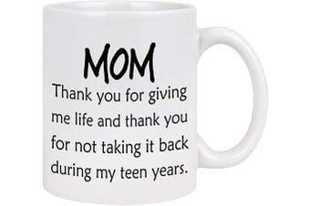 (White) - Mom Coffee Mug Thank You for Giving Me Life Mom Coffee Mug Mom Mug Gifts from Daughter Son Mothers Day Gifts for Women Mom 330ml