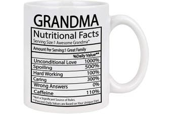 (White) - Grandma Nutritional Facts Mug Grandma Gifts Cup Mothers Day Gifts for Grandma Coffee Mug for Mother's Day Birthday Gifts for Grandma 330ml