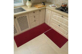(Red) - 120cm x 50cm /80cm X 50cm Kitchen Rug Mats Made of 100% Polypropylene 2 Pieces Soft Kitchen Mat Specialised in Anti Slippery and Machine Washable,red