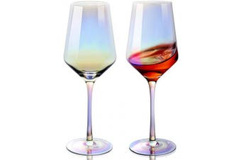 YOLIFE Elegant Electroplated Wine Glass Set of 2, Dining Table Decoration Gift, 410ml