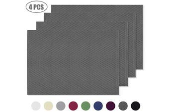 (Set of 4 Placemats, Dark Grey) - Ebecede Waffle Fabric Placemats for Dining Table Set of 4 Waterproof Spillproof Polyester Place Mats for Kitchen Table 33cm x 48cm (Dark Grey, Set of 4 Placemats)