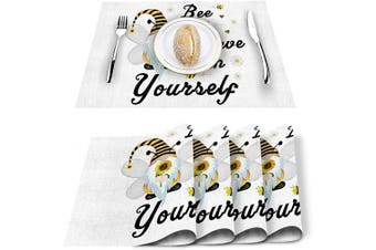 (11.8x17.7inchx4) - SUN-Shine Placemats Set of 4, Cute Gnomes and Bees Placemat for Dining Table Decorations, Heat-Resistant Washable Table Mats for Kitchen Dinner Banquet Spring Sunflower