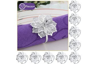 (Silver) - 12 Pieces Alloy Napkin Rings with Hollow Out Flower Napkin Holder Floral Rhinestone Napkin Rings Adornment Exquisite Household Napkins Rings Set for Wedding Banquet Christmas Dinner Decor (Silver)