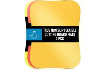 Zulay Extra Thick Flexible Cutting Board Mats for Kitchen - No Slip Textured Bubble Bottom Grip, Multicolor Plastic Cutting Boards Set of 3