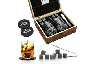 (Large) - Whiskey Stones and Whiskey Glass Gift Box Set - 8 Granite Chilling Whisky Rocks + 2 Glasses in Wooden Box - Best Gift for Men Father's Day Dad's Birthday (Large)