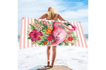 (80cm  x 160cm , Flamingo 1) - Bonsai Tree Flamingo Microfiber Beach Towel, Tropical Flowers Women Quick Dry Beach Blanket Oversized 80cm x 160cm , Summer Hawaii Leaves Personalised Sand Proof Bath Towels Gifts for Travel