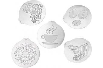 BESTONZON 5pcs Stainless Steel Coffee Stencils Barista Cappuccino Arts Templates Coffee Garland Mould Cake Decorating Tool
