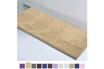(50cm  x 150cm , Beige) - ITSOFT Non Slip Shaggy Chenille Soft Microfibers Runner Large Bath Mat for Bathroom Rug Water Absorbent Carpet, Machine Washable, 50cm x 150cm Beige