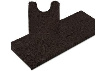 (Large, Chocolate Brown) - ITSOFT 2pc Non-Slip Shaggy Chenille Bathroom Mat Set, Includes 50cm x 60cm U-Shaped Contour Toilet Mat and 50cm x 120cm Bath Mat, Machine Washable, Chocolate Brown