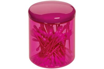 (Canister, Magenta and White) - iDesign Finn Canister Jar with Lid for Cosmetics and Makeup Storage, Q-Tips, Bathroom, Countertop, Desk, and Vanity, Magenta and White