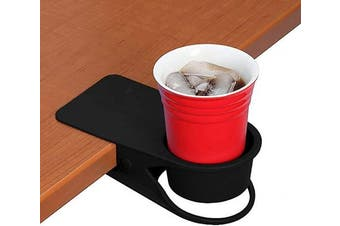(Black) - Twinsisi Drinking Cup Holder Clip - Home Office Table Desk Side Huge Clip Water Drink Beverage Soda Coffee Mug Holder Cup Potted Plant Headphones Date USB Cable Pen Storage Saucer Clip Design (Black)