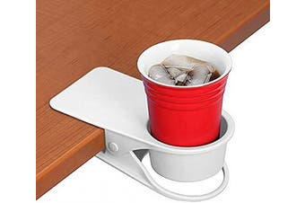 (White) - Twinsisi Drinking Cup Holder Clip - Home Office Table Desk Side Huge Clip Water Drink Beverage Soda Coffee Mug Holder Cup Potted Plant Headphones Date USB Cable Pen Storage Saucer Clip Design (White)