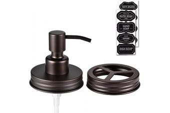 (2, Bronze) - Mason Jar Bathroom Accessories Lid Set(2pcs) - Jars Not Included - Lotion Soap Dispenser Lid & Toothbrush Holder Lid- Premium Rustproof Stainless Steel ,Bathroom Farmhouse Decor ,Bronze