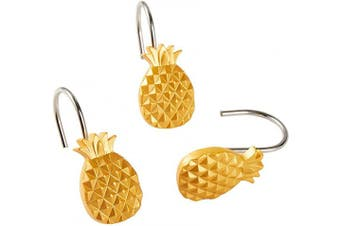 (Shower Curtain Hooks) - SKL Home by Saturday Knight Ltd. Gilded Pineapple Shower Curtain Hooks, Gold