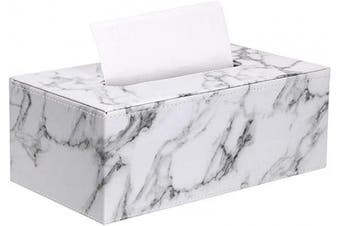 (9.8 x 13cm  x 9.4cm , Marble White) - Sumnacon Stylish PU Leather Tissue Box Holder, Rectangular Napkin Holder Pumping Paper Case Dispenser, Facial Tissue Holder with Magnetic Bottom for Home Office Car Automotive Decoration, Marble