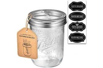 (Brushed Nickel) - Andrew & Sarah Mason Jar Toothbrush Holder - with 470ml Ball Mason Jar - Made from Premium Rustproof 304 Stainless Steel