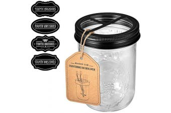 (Black) - Andrew & Sarah Mason Jar Toothbrush Holder Black - with 470ml Ball Mason Jar,Premium Rustproof 304 Stainless Steel Lid and Chalkboad Labels - Rustic Farmhouse Decor Black Bathroom Accessories
