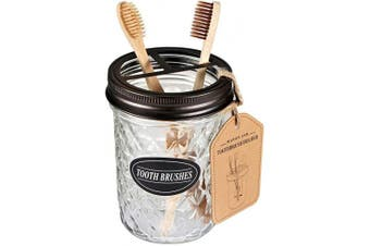 (Bronze) - Amolliar Mason Jar Toothbrush Holder- Rustproof Stainless Steel - Holds 2 Toothbrushes and Toothpaste,with Chalkboard Labels - Farmhouse Décor Bathroom Countertop and Vanity Storage Organiser,Bronze