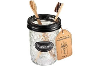 (Black) - Amolliar Mason Jar Toothbrush Holder - Rustproof Stainless Steel - Holds 2 Toothbrushes and Toothpaste,with Chalkboard Labels - Farmhouse Décor Bathroom Countertop and Vanity Storage Organiser,Black
