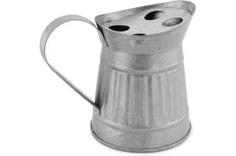 AuldHome Farmhouse Galvanised Toothbrush Holder; Pitcher-Shaped Rustic Bathroom Decor Accessory