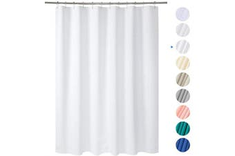 (180cm W*180cm H, White) - AmazerBath Plastic Shower Curtain, 180cm W x 180cm H EVA 8G Shower Curtain with Heavy Duty Clear Stones and Grommet Holes, Waterproof Thick Bathroom Plastic Shower Curtains Without Chemical Odour-White
