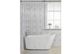 (180cm W X 200cm H) - AmazerBath 12 Gauge Heavy Duty Crystal Clear Thick Shower Curtain Liner with Heavy Duty Clear Stones and 12 Rust-Resistant Grommet Holes Waterproof Bathroom Plastic Shower Curtain Liner- 180cm W x 200cm H