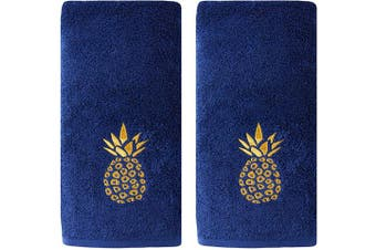 (Hand Towel Set) - SKL Home by Saturday Knight Ltd. Gilded Pineapple Hand Towel, Navy