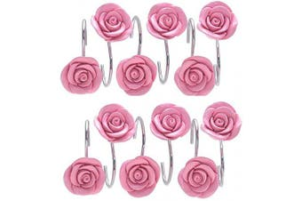 (Pink) - Actpe 12pcs Shower Curtain Hooks, Home Decorative Rustproof Shower Curtain Hooks Resin Rose Flower Shower Hooks Rings for Bathroom Shower Rods Curtains, Pink Rose