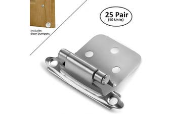 (25 Pair - 50 Units) - Berlin Modisch Overlay Cabinet Hinge 25 Pair (50 Units) Self-Closing Decorative, Face Mount, for Variable Overlay Kitchen Cabinet Doors Satin Nickel Finish, with Sound Dampening Door Bumpers